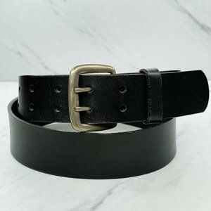 Black Thick Genuine Leather Double Prong Belt